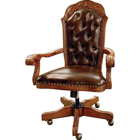Tufted Leather Office Chair by Office Chair Executive Traditional Solid Hardwood Tufted