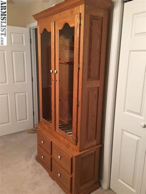 Solid Oak Gun Cabinets For Sale by Armslist For Sale Solid Oak Gun Cabinet