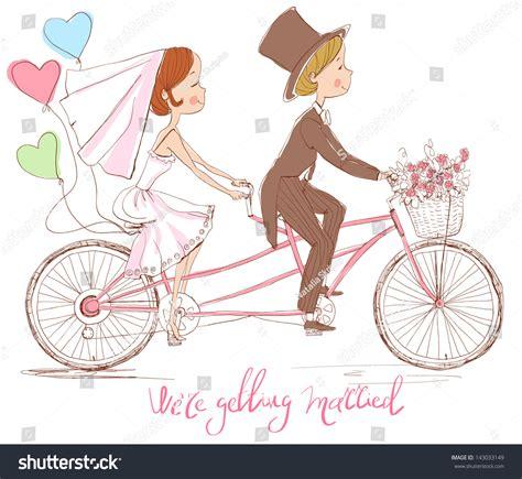 Wedding On Bicycle by Wedding Invitation Groom On Tandem Stock Vector