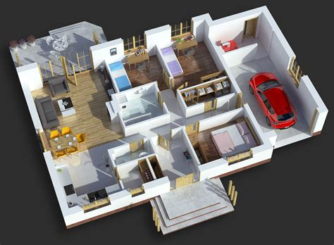 3d house plan with the implementation of 3d max modern rzut domu 3d hibox studio graficznehibox studio