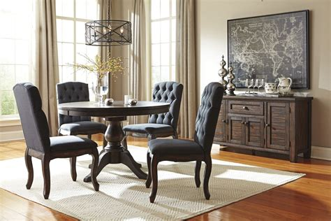 dark dining room trudell dark brown round extendable pedestal dining room