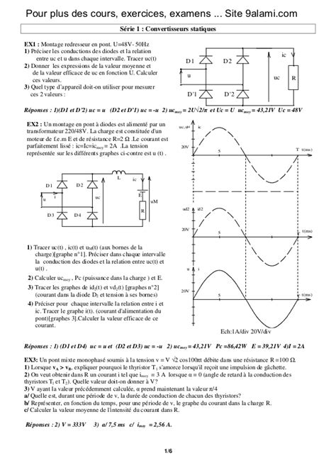 exercice diode resistance exercices corrig 233 s sur convertisseurs statiques 2 bac science d ing 233 n