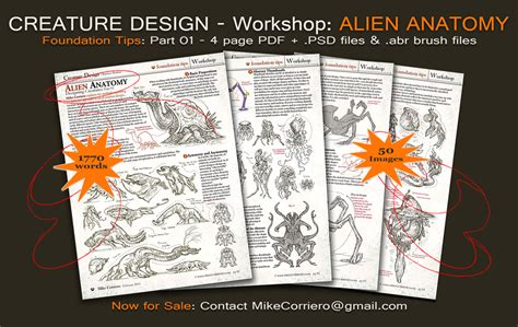 pattern making workshop pdf creature design workshop 4 pg pdf part 01 by mikecorriero