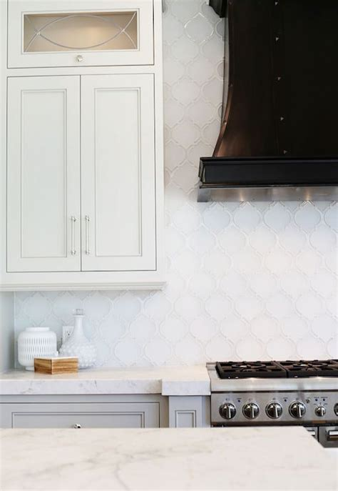 white backsplash tile white arabesque tile backsplash transitional kitchen