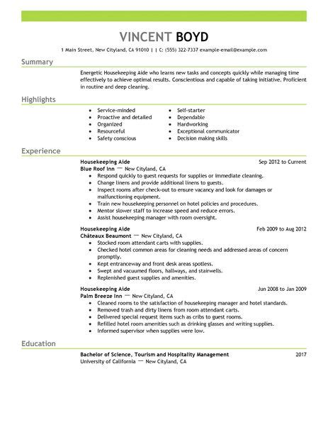 Resume Format For Housekeeping by Housekeeping Aide Resume Exle Hotel Hospitality Sle Resumes Livecareer