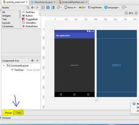 android studio layout id app tutorial accessing layout editor in android studio v