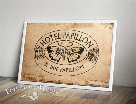 shabby chic stencil old french hotel papillon advert
