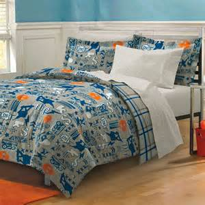Blue gray skateboard bedding teen boy comforter set bed in a bag