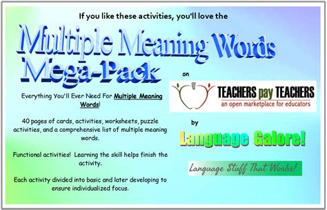 multiple meaning words activities worksheets word