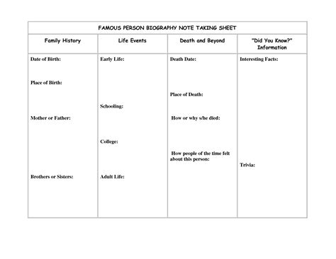 person report template 15 best images of biography report worksheet biography