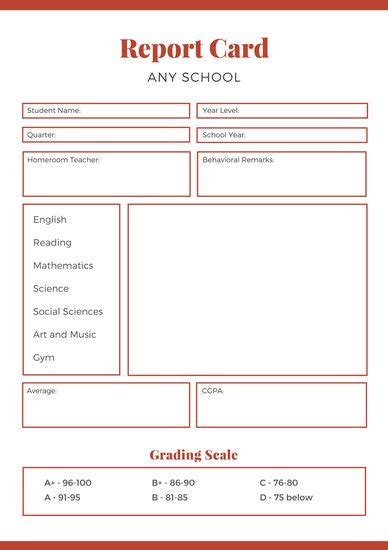 middle school report card template blue college report card templates by canva
