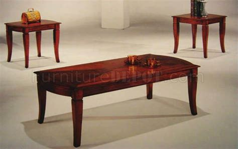 cherry finish traditional 3pc coffee table set
