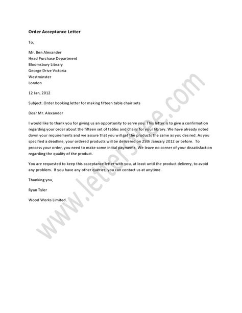 Acceptance Of Purchase Order Letter Format An Order Acceptance Letter Is Written To Inform A Company About Accepting Their Order For A