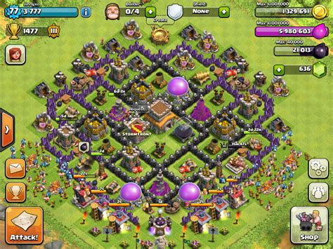 layout coc th8 unik clash of clans level 8 town hall defense for trophies