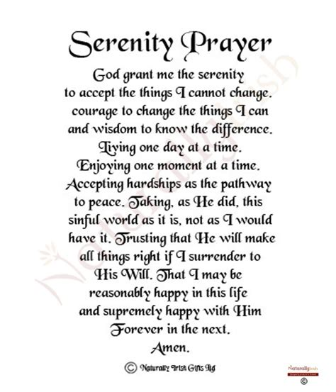 Printable Version Serenity Prayer | 9 best images of the serenity prayer printable version