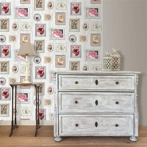frame patterned wallpaper muriva wood beam picture frame pattern wallpaper heart