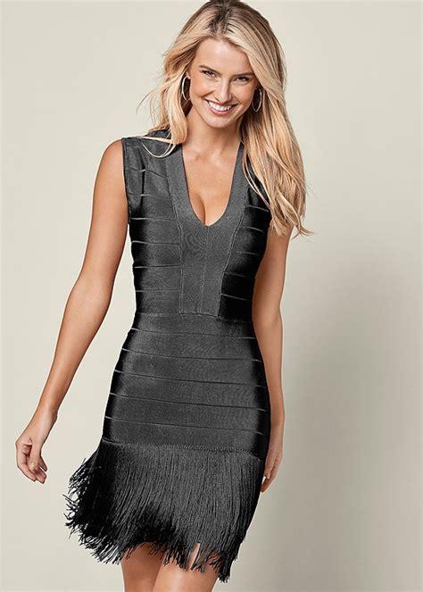 slimming fringe dress  black venus