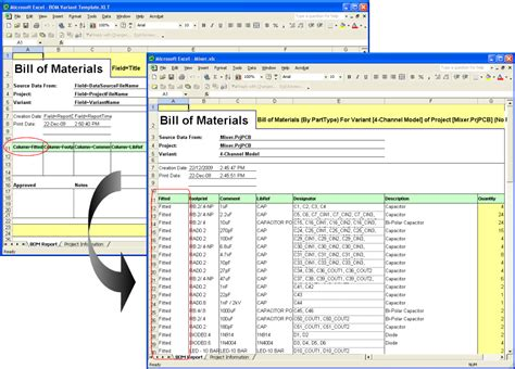bill of materials template inclusion of not fitted components in a bom