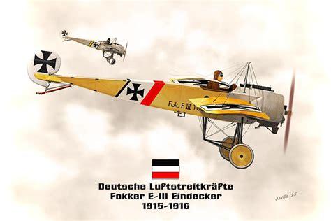 Draw Plans Online fokker eindecker e3 ww1 fighter digital art by john wills