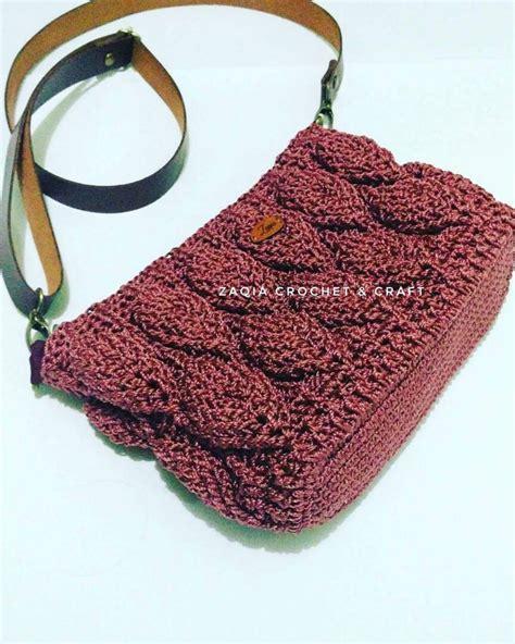Dompet Rajut Craft Serbaguna Handbag tas rajut motif daun 3d mariberkarya