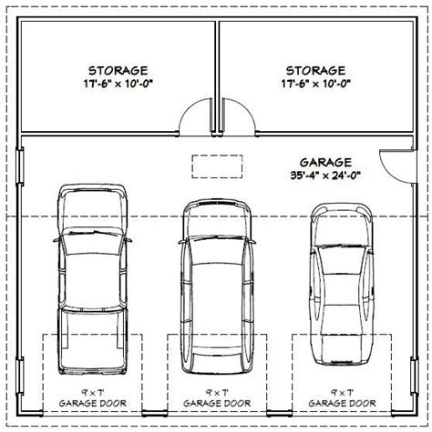 Size Of A 3 Car Garage | garage dimensions google search house fix ups