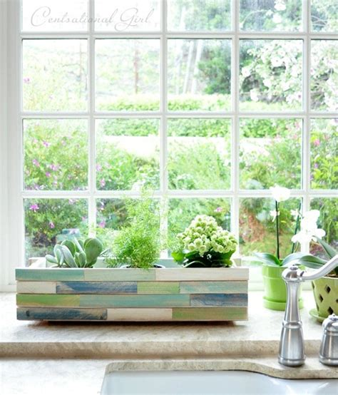 kitchen box window wood shim window box planter centsational