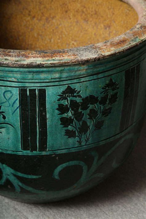 Large Glazed Pottery Planters by Large Hunan Turquoise Glazed Antique Ceramic Planter At