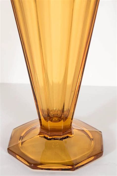 deco skyscraper style molded glass vase at 1stdibs
