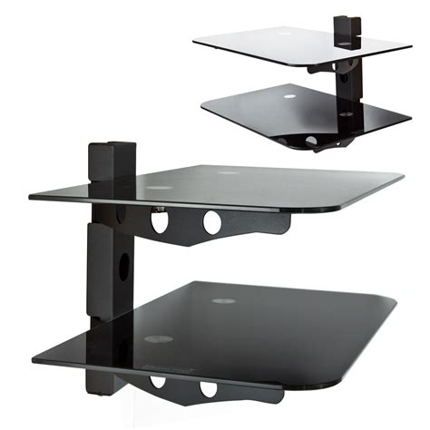 shelves wall mount component 2 tier wall mount shelf av dvd cable box console tv stereo rack ebay