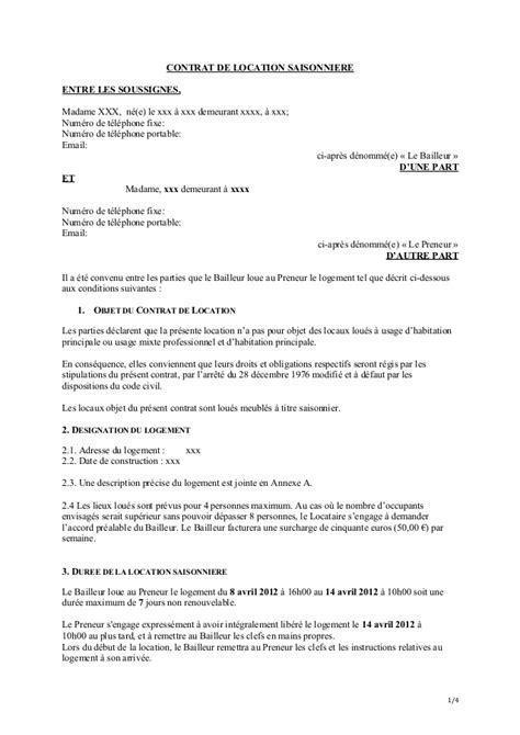 Contrat Location Meublée Gratuit by Mod 232 Le Contrat Location Saisonni 232 Re Vacances