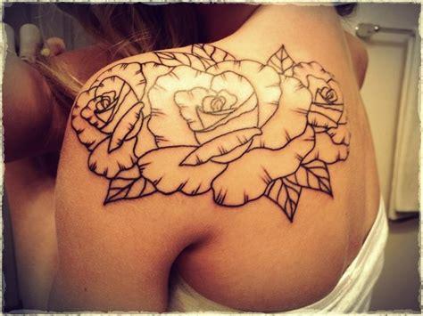 rose outline tattoo on shoulder outline watercolor to be added ink i like