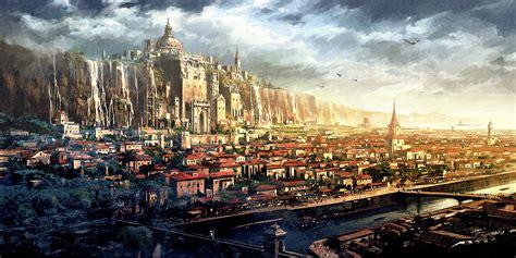 golden village wallpaper fantasy city wallpapers pictures images