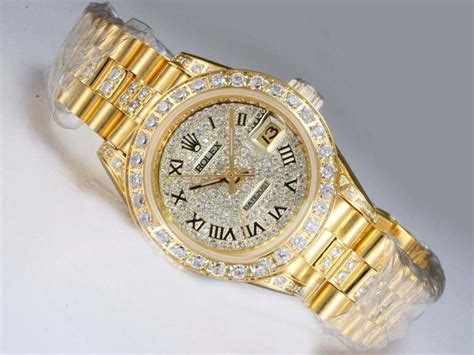 rolex datejust automatic gold bezel and