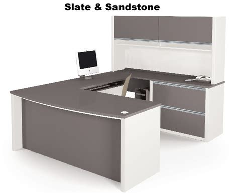U Shaped Office Desk With Hutch Bestar 93863 Connexion Executive U Shaped Desk W Hutch
