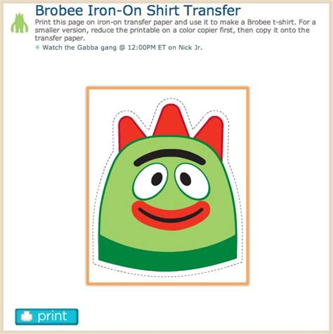 printable iron on transfer paper diy brobee iron on shirt transfer print this page on iron