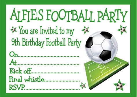personalised invites childrens boys football birthday invitations x 10 ebay