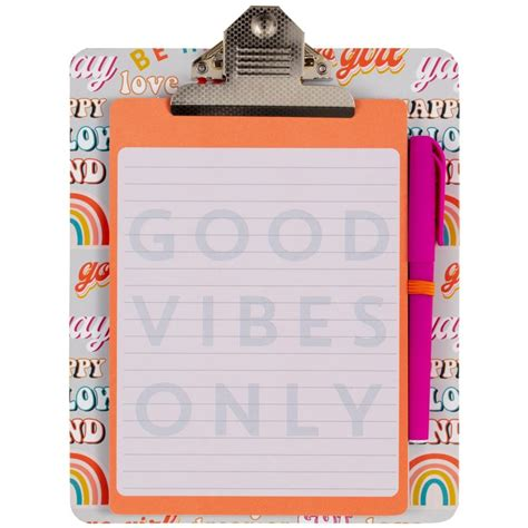 clipboard notepad good vibes  stationery bm