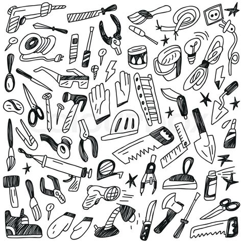 how to create energy in doodle working tools doodles stock vector colourbox