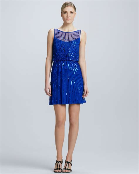 Supplier Neptune Dres By Galeri lyst aidan mattox boatneck sequined cocktail dress in blue