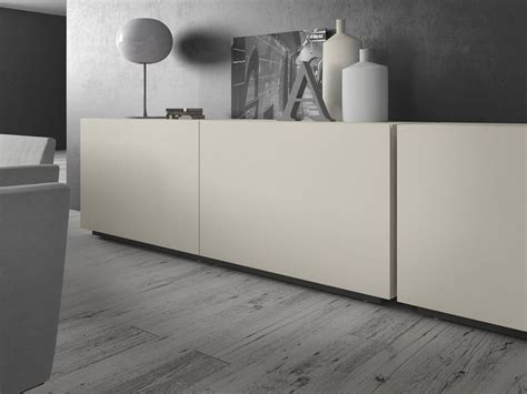 Presotto Industrie Mobili by Lacquered Wooden Sideboard With Sliding Doors Rewind By