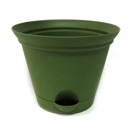 Misco Flare Self Watering Planter by 16 8 Quot Flare Self Watering Plastic Planter Green Walmart