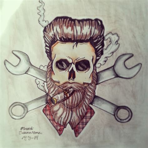 rockabilly skull tattoo design frankjohansson