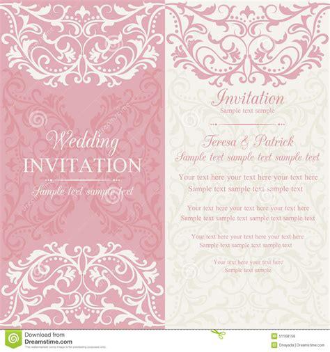 hochzeitseinladung vintage rosa barocke hochzeitseinladung rosa und beige vektor