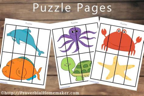 printable animal puzzles ocean animal printables subscriber freebie proverbial