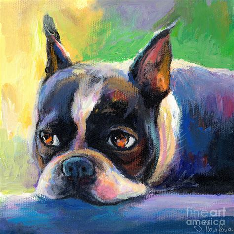dogs painting pensive boston terrier painting by svetlana novikova