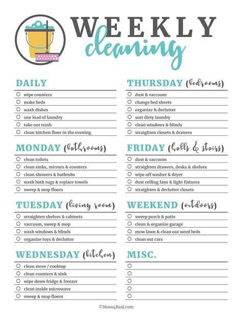 pretty printables 2 cleaning printable schedule