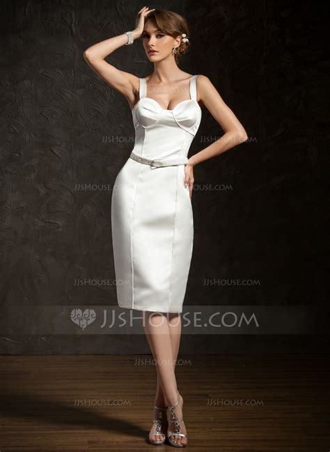 cocktail table sash length sheath column knee length satin cocktail dress