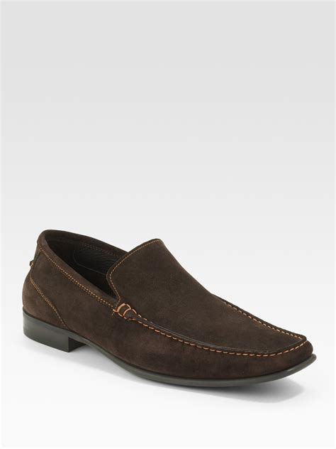 to boot new york suede loafer lyst to boot suede loafers in brown for