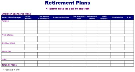 retirement planning spreadsheet templates retirement plan template free layout format