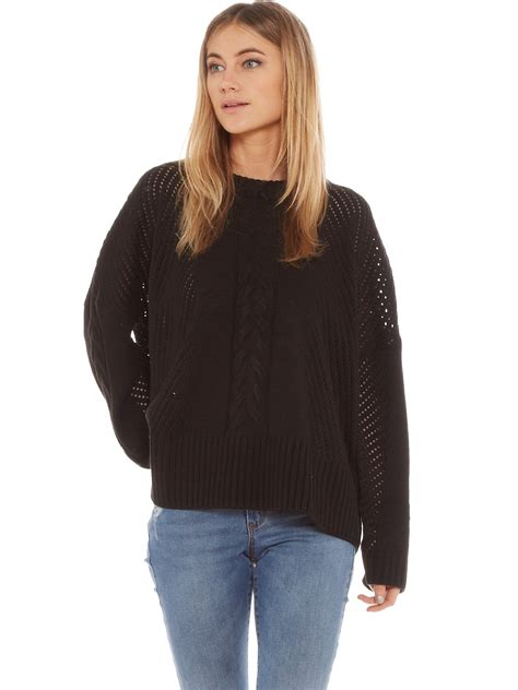black cable knit sweater abrand oversized cable knit sweater in black